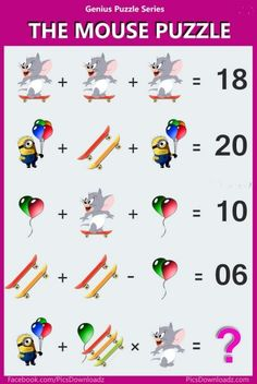 The Mouse Puzzle - Viral Logic Math Puzzle Image. Solve this fun math puzzle image. Viral Brainteasers Math Puzzles, Fun maths puzzle questions with answers. brain math puzzles for kids and adults. Logic Math, Logic Puzzles, Number Puzzles, Crossword Puzzles, Jigsaw Puzzles, Math Puzzles Brain Teasers, Maths Riddles, Online Math Courses, Iq Puzzle
