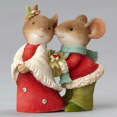 mouse couple with holly woodland christmas christmas home christmas - Christmas Mice Decorations