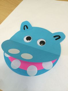 Hippo made by gluing half a pink kinder circle piece if paper onto another full circle to make a tongue. Glue the top half of another f… Hippo Crafts, Animal Crafts, Summer Crafts, Toddler Crafts, Diy Crafts For Kids, Toddler Activities, Preschool Activities, Paper Plate Crafts, Preschool Crafts