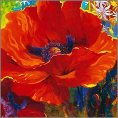 Simon Bull - flower art (your beauty lies within you) Art Floral, Bull Images, Art Watercolor, Red Poppies, Red Flowers, Painting Inspiration, Flower Art, Artwork, Wrapped Canvas