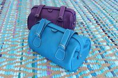 Trousse de Toilette Hurbane - Cuir Bleu Artic / Cuir Violet Ultra