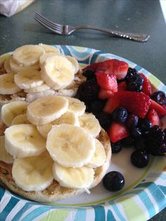 My Weight Watchers Breakfast  English muffin - 3pts+ Peanut butter - 5pts+ Bananas - 0pts+ Strawberry, Blueberry, Blackberry salad - 0pts+  8pts and soooo filling. Yummy!