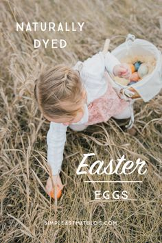 Learn how to get beautiful, rustic colored Easter eggs by dying with all natural ingredients. Follow along for a list of household ingredients and step by step instructions to help you create pretty Easter eggs in a variety of natural shades and the best part is, it's safe for kids.