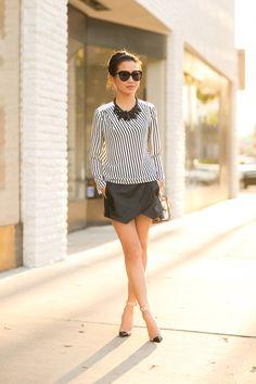 Breezy Weekend :: Draped blouse & Mini skort