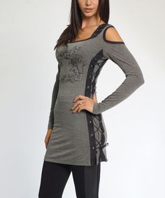 Look at this #zulilyfind! So Nice Collection Gray Lace-Up Cutout-Shoulder Tunic by So Nice Collection #zulilyfinds