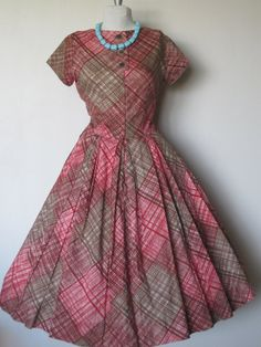 Vintage 1950's Chocolate.Red.Picnic Plaid. Full circle skirt.  Party Mad Men dress.