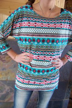 New Made USA Hi-low Aztec Tribal pattern blouse top Women top size S and M
