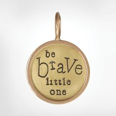 "Size 4 (5/8""), yellow gold round, rose gold original frame, green gold lucky star, lion stamp, ""Be brave little one"""