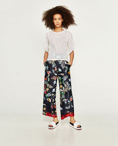 ZARA - WOMAN - CONTRAST EMBROIDERED TOP