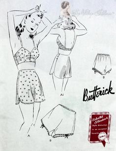 1940 PIN UP Style Lingerie Pattern BUTTERICK 9274 WW II Era Ladies Under Garments Tap Panties Knickers and Brassiere Vintage Sewing Pattern Bust 40 FACTORY FOLDED