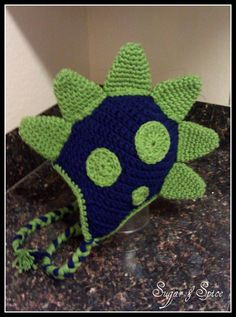Dinosaur crochet hat / beanie SOOOO CUTE by SugarAndSpiceTexas, $15.00