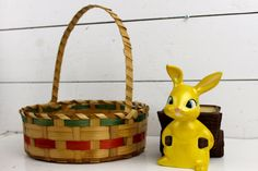 VIntage Easter Basket Made in Mexico Classic Round Easter Basket. $24.00, via Etsy.