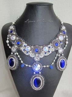 Bead Embroidery Necklace      Blue Cat's Eye by Lijuanbeadjewelry, €150.00