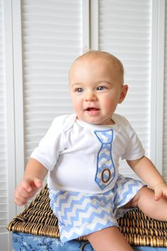 Monogram Baby Boy Clothes OnePiece with Tie and Shorts by LilMamas