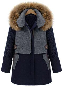 Blue Contrast Grey Panel Detachable Fur Hood Wool Blend Coat - Sheinside.com