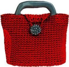 Little Red Crochet Bag, Free Pattern...you could use any yarn, but this one is made with nylon cord, should be extra strong!