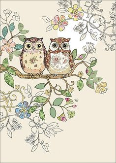 BugArt Collage ~ Owl Pair. Collage *NEW* Designed by Jane Crowther.