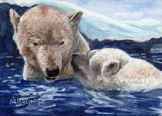 ACEO TW JAN Original Painting Two Polar Bears animals wildlife endangered winter #Impressionism Watercolor Paintings, Original Paintings, Country Fair, Famous Couples, Polar Bears, Artist Trading Cards, Atc, Impressionism, Wildlife