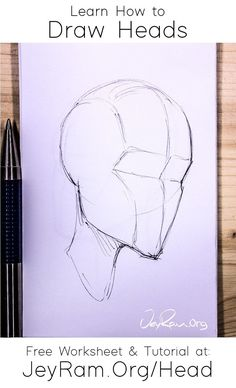 How to Draw the Head from Any Angle: Free Worksheet & Video Tutorial Anatomy Drawing, Manga Drawing, Anatomy Art, Human Anatomy, Drawing Reference Poses, Design Reference, Drawing Tips, Art Reference, Drawing The Human Head