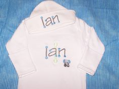 Custom Personalized Infant Gown and Cap set Monogrammed. $23.99, via Etsy.