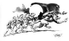 Werewolf Transformation, in Jeff Slemons's Luna Moon-Hunter Graphic Novel Comic Art Gallery Room - 1041716
