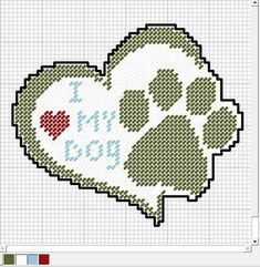I My Dog graph pattern Plastic Canvas Coasters, Plastic Canvas Ornaments, Plastic Canvas Crafts, Plastic Canvas Patterns, Cross Stitch Charts, Cross Stitch Designs, Cross Stitch Patterns, Cross Stitching, Cross Stitch Embroidery