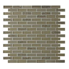 GBI Tile & Stone Inc.�12-in x 12-in Gemstone Champagne Glass Mosaic Subway Wall Tile (Actuals 12-in x 12-in)
