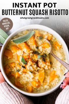Grain free butternut squash cauliflower risotto made in the Instant Pot! So easy and quick, and it's paleo, Whole30, vegan and AIP. It's a comforting and cozy grain free meal, but you'll never know it! Tastes like the real deal and so flavorful #paleo #glutenfree #grainfree #cauliflowerrisotto #vegan #aip #whole30 #glutenfree dairyfree