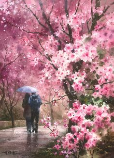 Watercolor by Lin Ching Che ~ Cherry Blossom Rain Watercolor Landscape, Landscape Art, Watercolor Flowers, Watercolor Paintings, Great Paintings, Beautiful Paintings, Beautiful Landscapes, Art Asiatique, Umbrella Art
