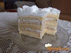 Recept za Belu plazma tortu. Za spremanje ovog jela neophodno je pripremiti belance, šećer, brašno, griz, mleko, šećer, puding, šlag.