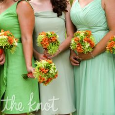 small bouquets of green hydrangeas, spider poms and Kermit poms