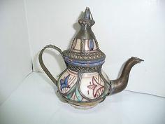Art Pottery & Metal Moroccan Teapot