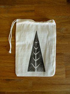 hand block printed Holiday Gift Bag