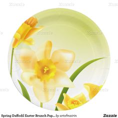 Spring Daffodils Design Easter Brunch | Party Gift Paper Plates. Matching cards, postage stamps and other products available in the Holidays / Easter Category of the artofmairin store at zazzle.com