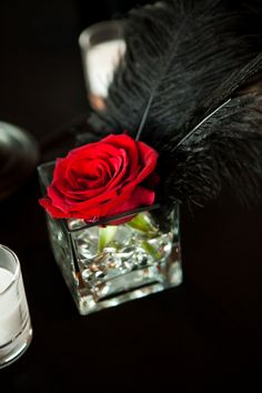 wedding centerpiece singe red rose.. kind of like the feather touch too