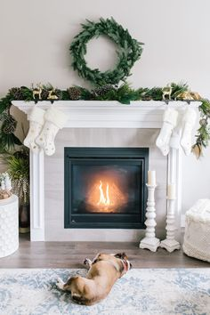 The fireplace mantel