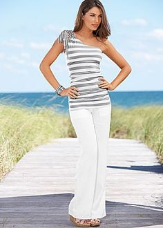 LOVE this top! Women's Striped one shoulder top, linen pants @Nesreen Qubrosi Qubrosi Qubrosi Qubrosi Qubrosi Qubrosi Mills Fix