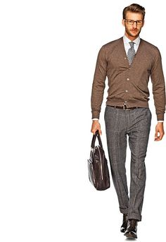 Shop this look for $337:  http://lookastic.com/men/looks/dress-pants-and-boots-and-cardigan-and-dress-shirt-and-tie-and-briefcase/737  — Grey Plaid Wool Dress Pants  — Brown Leather Boots  — Brown Cardigan  — White Dress Shirt  — White and Black Gingham Tie  — Dark Brown Leather Briefcase