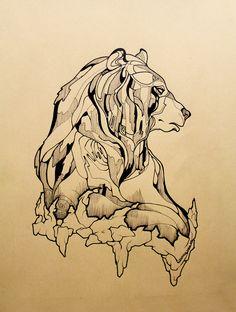 A dhéanamh ar na réaltaí aon torann (The stars make no noise) Tá béal adh milis a chloisteáil. (A silent mouth is sweet to hear) Bear Tattoos, Body Art Tattoos, Tattoo Drawings, Art Drawings, Bear Drawing, Illustration Vector, Tattoo Project, Bear Art, Future Tattoos