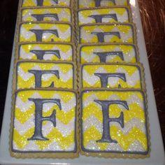 Monogrammed chevron cookies by Sara Belle's Bakery