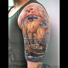 Absolutely the BEST color Clipper Ship tattoo I have seen! The details are this are insane! By Cris Gherman