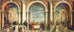 'Feast in the House of Levi'  Paolo Veronese 1575 Oil on canvas 555cm ×1280cm (219in ×500in) Gallerie dell'Accademia, Venice