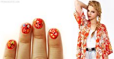 Claudia Floral Manicure  Inspired by: NastyGal Claudia Floral Kimono