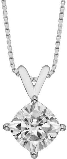 Forever Brilliant 14k White Gold Cushion-Cut 1 7/10-ct. T.W. Lab-Created Moissanite Pendant
