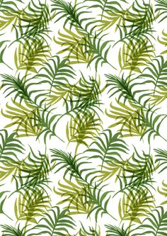 green tropical palm leaf pattern / gouache painting
