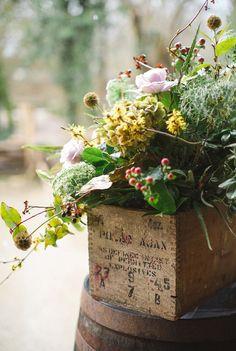 The Little Corner Blog ... gorgeous flower arrangement in an old box