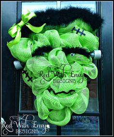 Mrs. Frankenstein Wreath Frankenstein Large by RedWithEnvyDesigns, $75.00