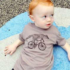 Fox on a Bike Shirt - Childrens TShirt - American Apparel Cinder Tan - Organic Cotton. $18.00, via Etsy.