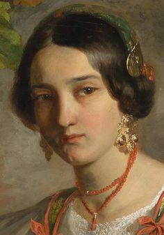 "Johann Endler (Czech, 1821-51), ""Young Roman Girl with Basket of Fruit"" (detail, 1847)."