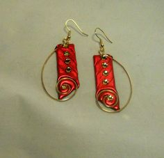 Red Earrings with Brass Wire Swirls by LadyBugHolmes on Etsy, $12.00